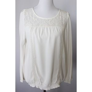 Joie Peasant Blouse Size S Lace Inlet Long Sleeve